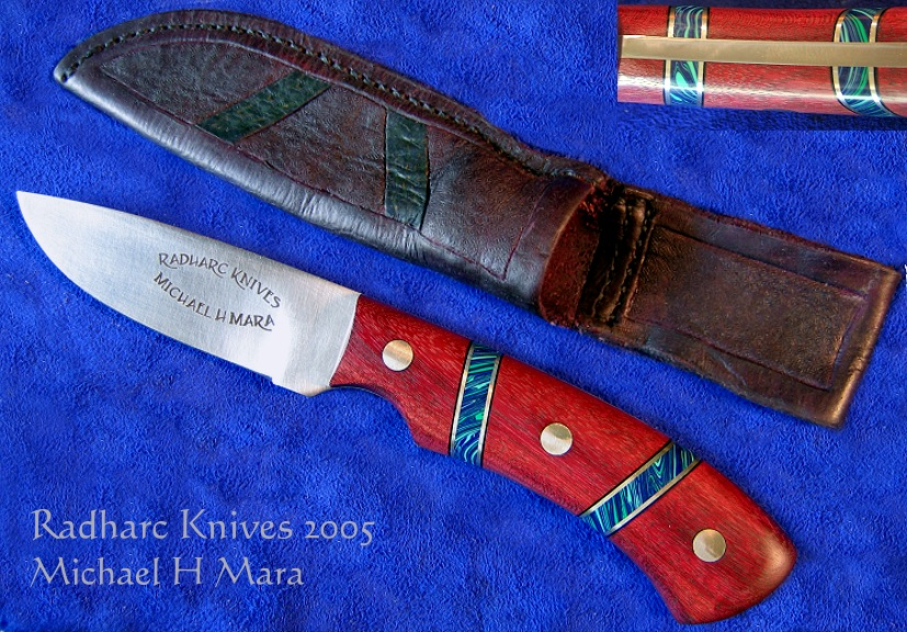 Purpleheart Hunting Utility Knife with sheath