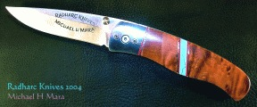 Thuya Burl, 440C steel folding knife