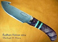 Walnut Damascus hunting and skinning knife