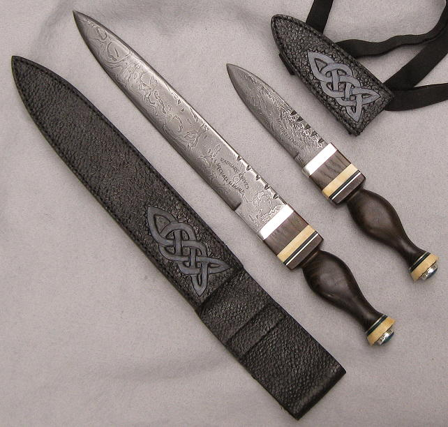 Hand forged cable Damascus knives