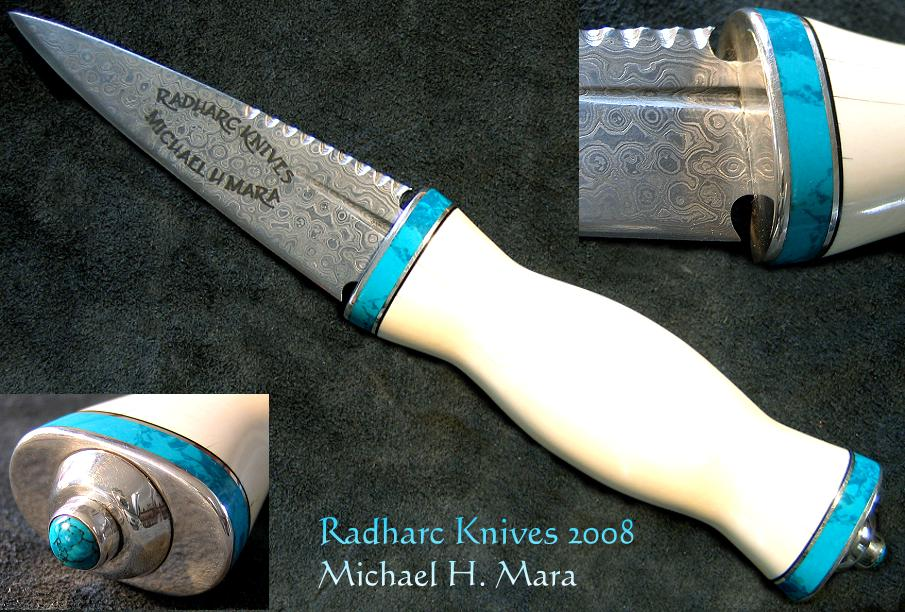 Hand Forged Damascus and Ivory Sgian Dubh